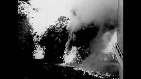 CIRCA 1940s - Demonstration of the terrifying Churchill Crocodile Flamethrower tank in 1944