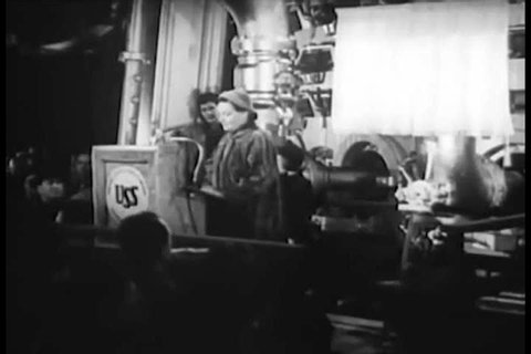 CIRCA 1952 - The wife of US Steel's CEO gives a speech and christens a furnace at a new steel mill.
