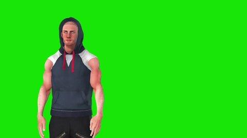Hip Hop Dancer Green Screen Close up 3D Rendering Animation