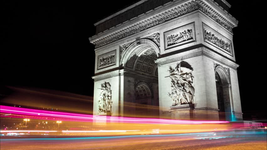 Paris Arch of Triumph (Arc de Triomphe) at Night Timelapse | Shutterstock HD Video #1022320459