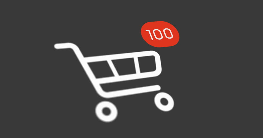Animation shopping cart icon with counter added online commodity on gray background. 4k footage with alpha matte | Shutterstock HD Video #1022352499