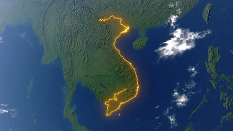 Realistic 3d animated earth showing the borders of the country Vietnam and the capital Hanoi in 4K resolution