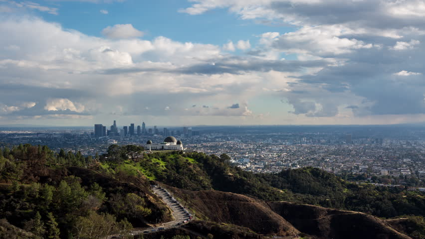 Downtown Los Angeles Angeles and Griffith Park Cloudscape Day to Night Timelapse