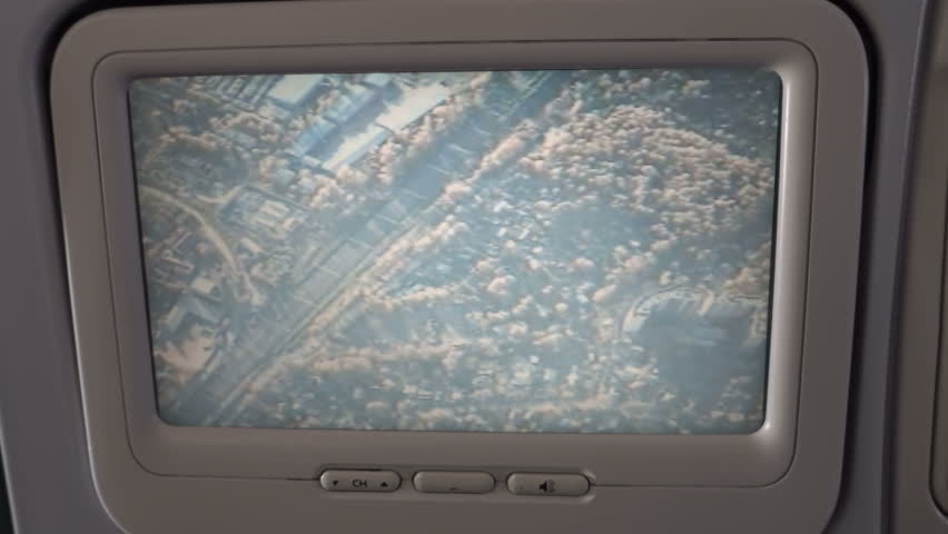 In the cabin, passengers on the monitor can watch the flight of the aircraft in real time. The display shows the land and buildings, over which they fly
