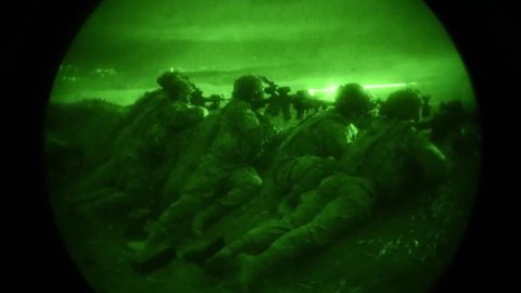 CIRCA 2018 - Night vision of U.S. Soldiers assigned to Lightning Troop participating in a combined arms live fire exercise.