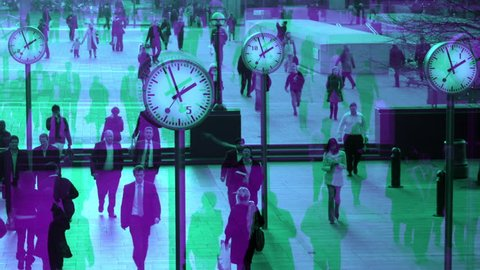 abstract interpretation of crowds walking in london docklands with big clocks telling the time