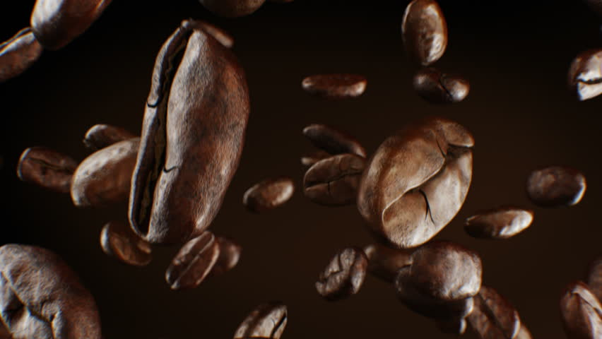 Beautiful Roasted Coffee Beans Falling Down Close-up in Slow Motion Seamless CG on Brown Background. Looped 3d Animation with DOF Blur. 4k Ultra HD 3840x2160. | Shutterstock HD Video #1022593069