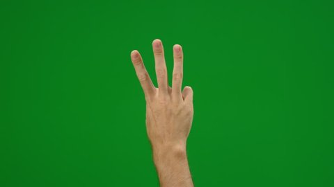 Set of 10 different finger counting gestures on greenscreen shot on R3D in 4k