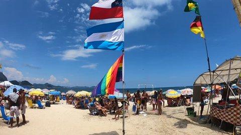 Brasil, Rio de Janeiro, January 4, 2019: Walk along Copacabana Beach in Rio de Janeiro. Timelapse 4k