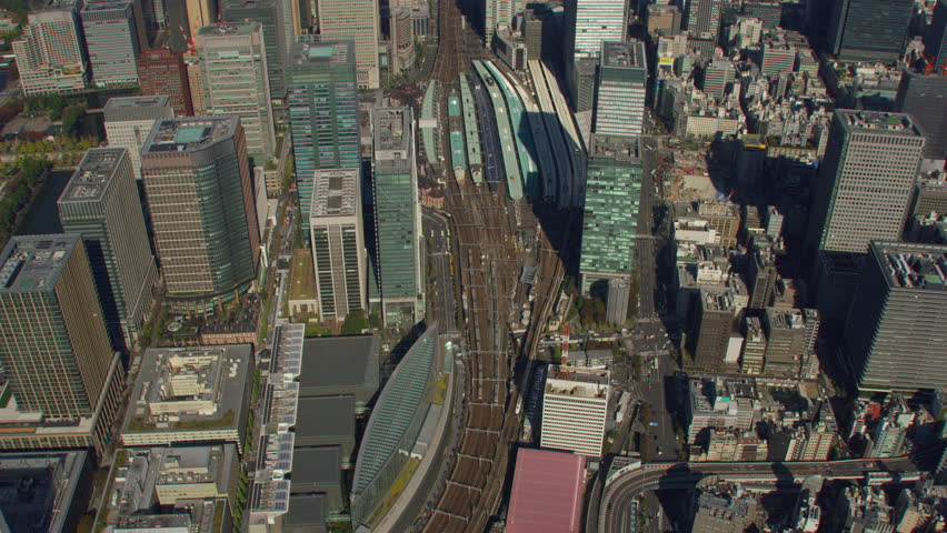 Tokyo, Japan circa-2018. Overhead aerial view of Tokyo Station. Shot from helicopter with RED camera. | Shutterstock HD Video #1022610409