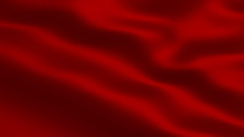Red waving flag full screen 3d animation.