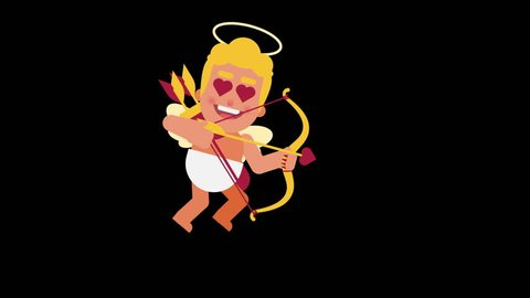Character Cupid flies and shoots from bow. Alpha channel. Loop animation. Motion graphics