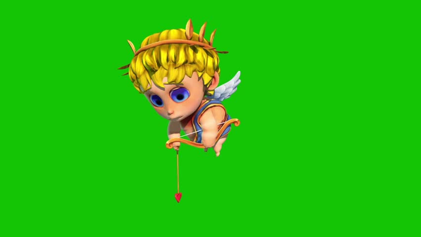 Sad Cupid Happy Valentine's day Green Screen 3D Rendering Animation | Shutterstock HD Video #1022820379
