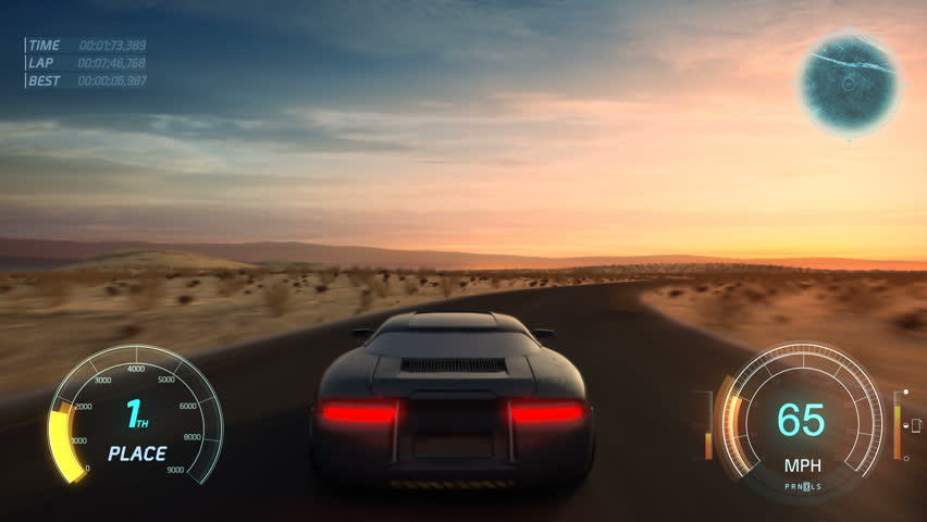 3d fake Video Game. Gameplay screen. Racing simulation on modern gaming computer. | Shutterstock HD Video #1022828989