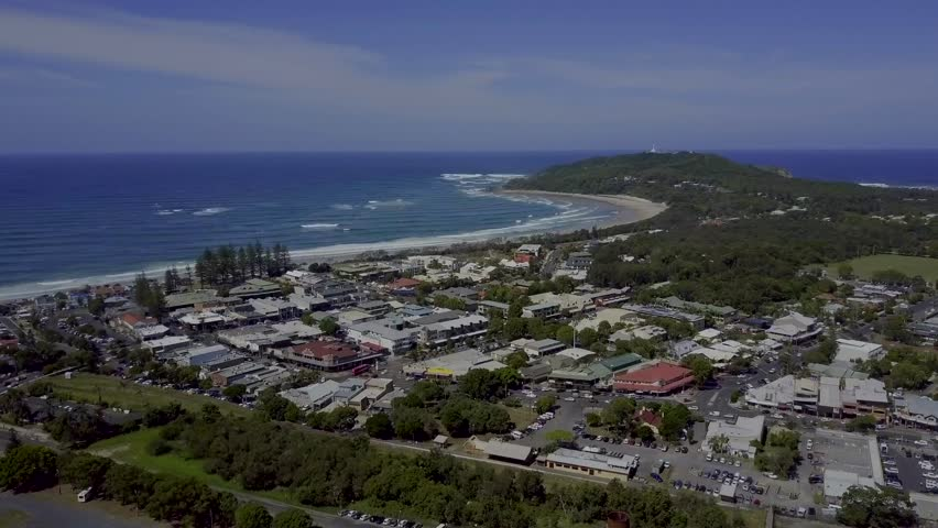 Byron Bay Town with Lighthouse and Pacific Ocean Drone | Shutterstock HD Video #1022842759