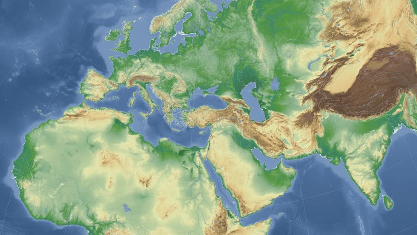 Tunisia On The Physical Map Outlined And Glowed Elements Of This - Tunisia earth map