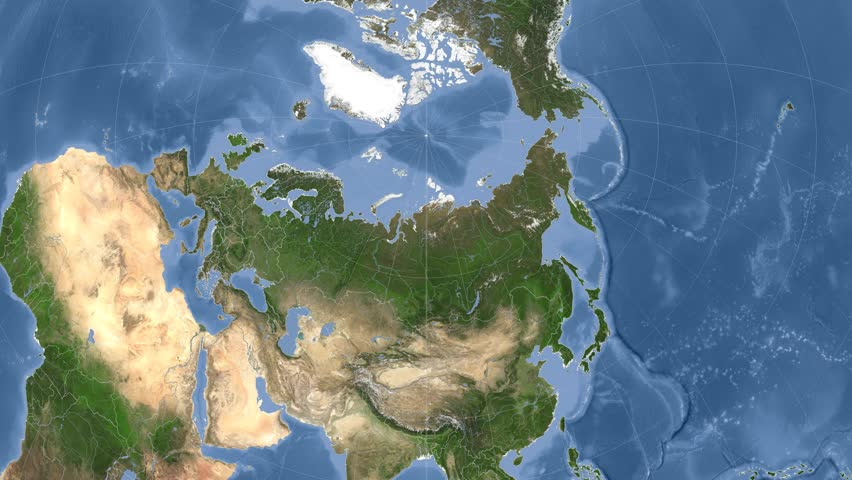 Russia On The Satellite Map Outlined And Glowed Elements Of This