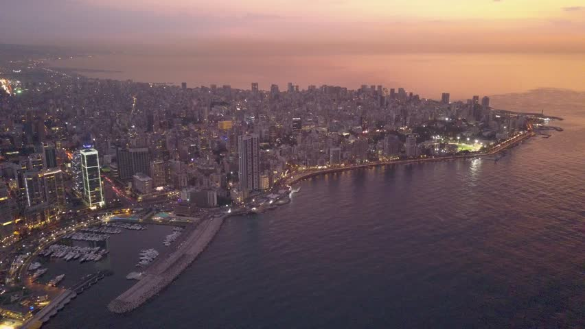 Flying over Beirut bay marina and downtown. Drone aerial shot of Beirut, Lebanon, during sunset. | Shutterstock HD Video #1022918779