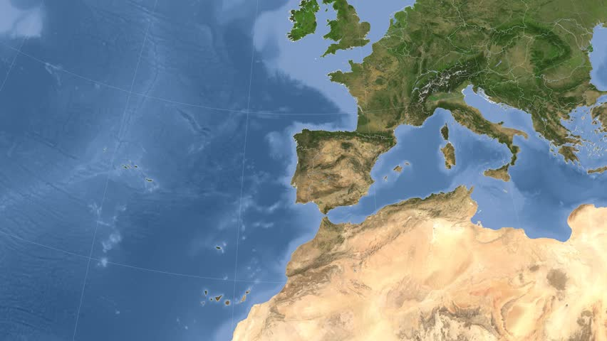 Glide Over The Satellite Map Of Spain Country Area Highlighted - Portugal map satellite