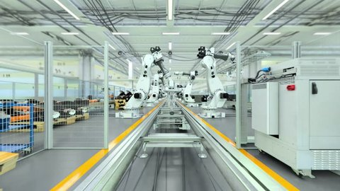 Industrial robot factory - 3d animation - flat version, v1  this is a high  detailed 3d animation of a robotic factory, where industrial robots are  showing a part of their capabilities  completely cgi