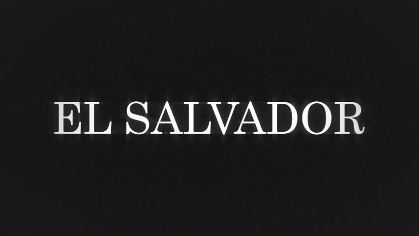 EL SALVADOR. retro videogame press start text words on old tv vhs glitch interference screen ... New quality universal vintage motion dynamic animated background colorful joyful cool video footage