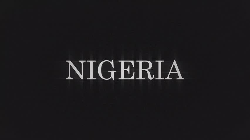 NIGERIA. retro videogame press start text words on old tv vhs glitch interference screen ... New quality universal vintage motion dynamic animated background colorful joyful cool video footage