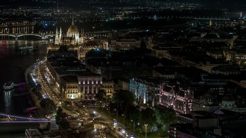 Aerial View of Budapest Hungarian Parliament Fisherman Bastion at dusk, Hungary