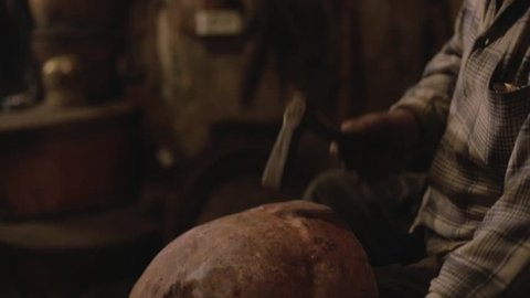 Old man making copper vessels, old traditional  profession