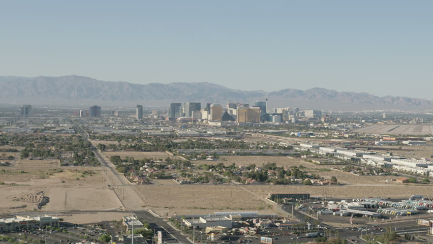 Las Vegas - May 2017: Aerial Cityscape view of rural residential suburbs Resort hotels Las Vegas Mojave Desert Nevada USA RED WEAPON