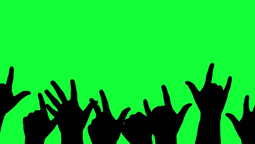 Moving, cheering silhouettes of hands. 4K 60 Fps. Great For Your Music / Celebration / Cheer Projects #1023314029
