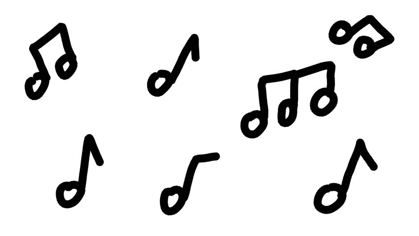 Hand drawn animation of many different music notes over a white background.Cartoon looking drawing.