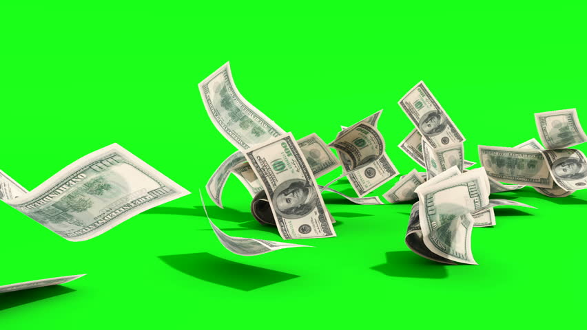Dollar hundred bills banknotes blows away from the pile 3d render green screen | Shutterstock HD Video #1023373729