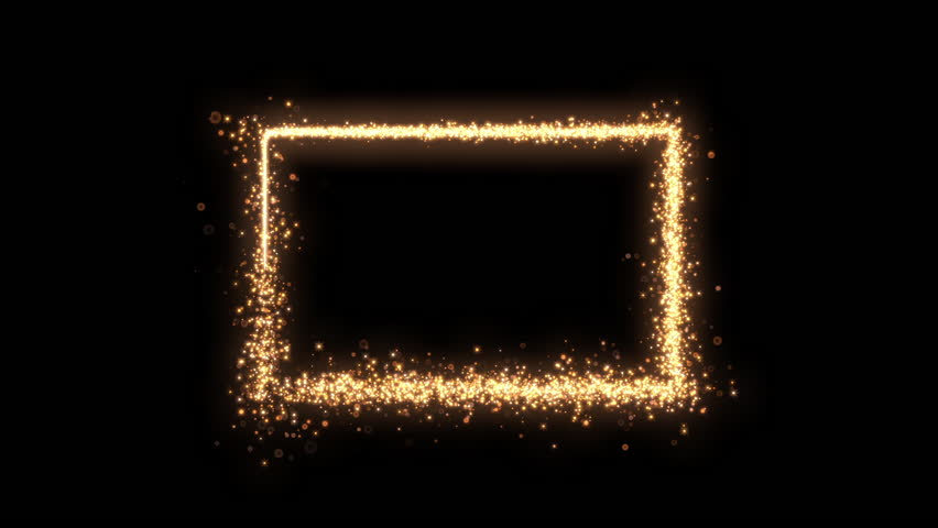 Shining sparkles creating a central rectangle frame that can be used as a nice abstract background with your logo ,title or photo. Abstract golden rotating particles. | Shutterstock HD Video #1023437569