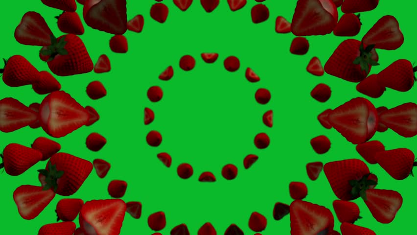 Rotating floating strawberries on green background. Seamless loop 4K | Shutterstock HD Video #1023443329