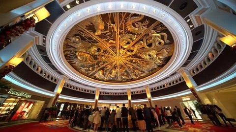 Macau, DEC 24: People waiting for the famous show - Tree of prosperity, Dragon of fortune of Wynn Macau on DEC 24, 2018 at Macau