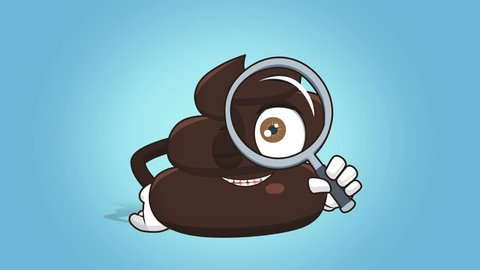 Cartoon Funny Brown Poop Turd Magnifying Glass with Face Animation Alpha Matte