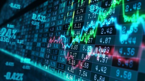 Motion graphics background with animated financial line graphs running in virtual space with holographic figures and stock market board