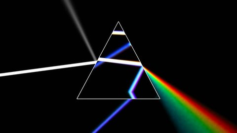 Prism separating a ray of light into the seven colors of the spectrum. Light source rotates, giving beautiful rainbow effects. 4k