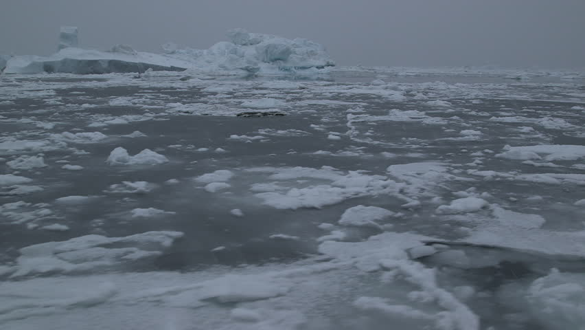Moving shot from a boat of the ice floe under the falling snow in the Arctic Ocean, Greenland