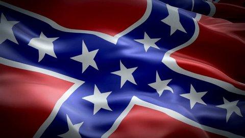 Confederate waving flag. National 3d Rebel flag waving. Sign of Confederate seamless loop animation. Rebel flag HD resolution Background. USA Civil war States flag Closeup 1080p Full HD video