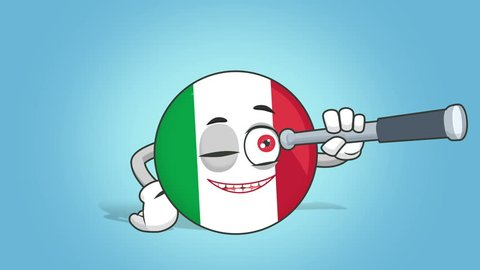 Cartoon Icon Flag Italy Spyglass with Face Animation with Alpha Matte