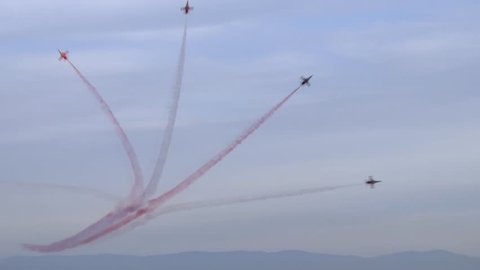 Demonstration flights of Solo Turk and Turkish Stars aircraft above