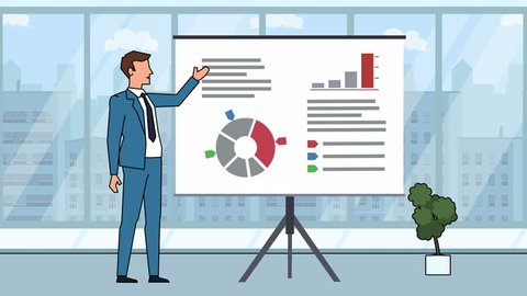 Flat cartoon businessman character speaker explain business concept on whiteboard presentation animation