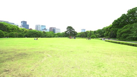 TOKYO - CIRCA MAY, 2017: East Palace Park or Kokyo Guyen is located on the territory of the Imperial Palace, district of Chiyoda. In the East Garden there are administrative buildings for the palace.