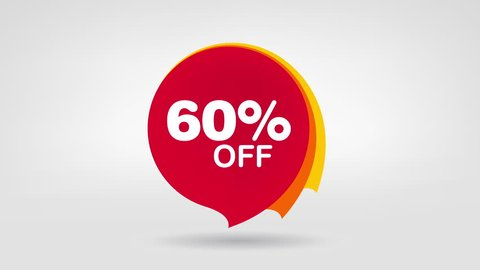 60% OFF Sale Promo Banner Special Offer Sticker. Sale Campaign Red Price Tag. Discount 60% Animation Badge.