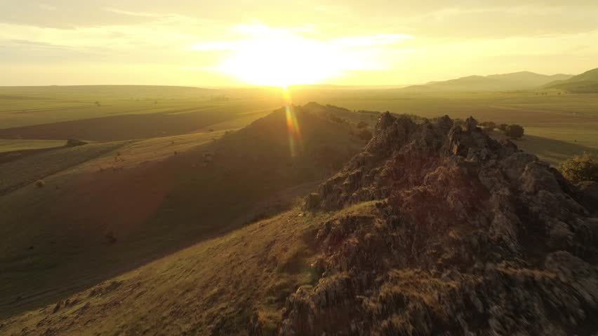 Aerial panoramic landscape at sunset/sunrise - Dobrogea, Romania - drone point of view | Shutterstock HD Video #1023859939