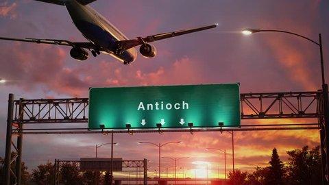 Airplane Landing Antioch during a wonderful sunset