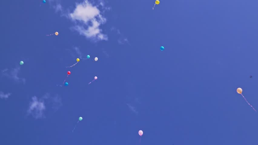 Beautiful multi-colored balloons fly in the blue sky | Shutterstock HD Video #1023916729