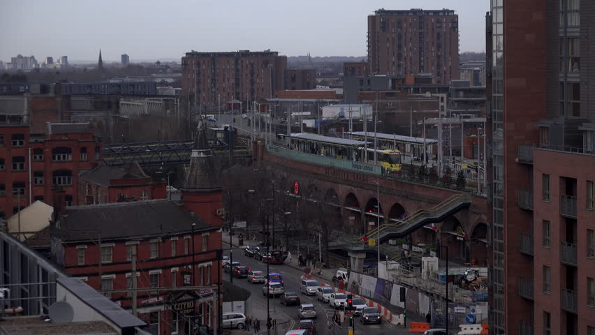 Aerial view of manchester with train line  and commuter trains UK England 4K | Shutterstock HD Video #1023970289