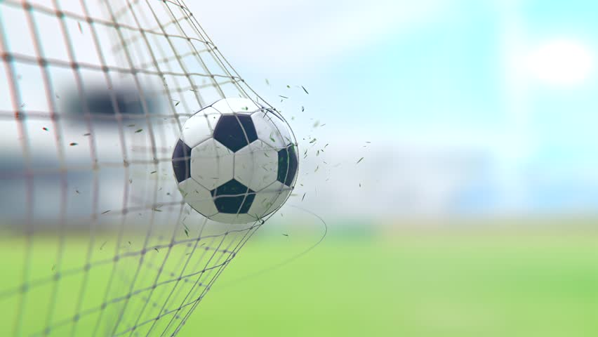 Goal In Slow Motion With stadium Background, 3D Animation #1023977429